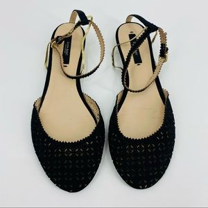 Zara Black Ankle Strap With Gold Chain Sandal